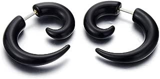 Negro Garra Cuerno Enchufe Falso Fake Plug, Pendientes de Hombre Mujer, Aretes, 2 Piezas