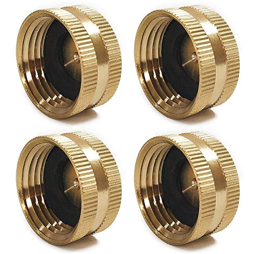 Twinkle Star 4 Pack Garden Hose Brass Hose Cap with Washers, 3/4'