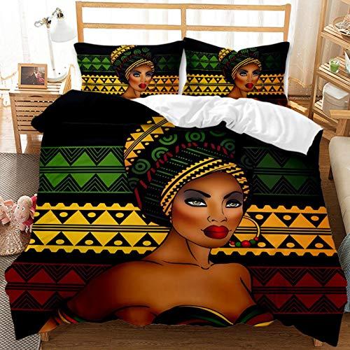 Juego De Cama De 3 Piezas (1 Funda Nórdica + 2 Fundas De Almohada), Juego De Funda Nórdica De Microfibra Suave Y Ligera con Cierre De Cremallera Mujer Africana Creativa 240 X 220 Cm A4