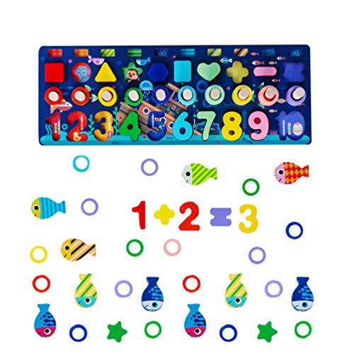 STOBOK Jogo de Pesca de Madeira Magnético Brinquedo Número Forma Cor Classificação Quebra-Cabeça Peixe Oceano Captura Jogos de Contagem Montessori Brinquedo Educacional para Crianças Em