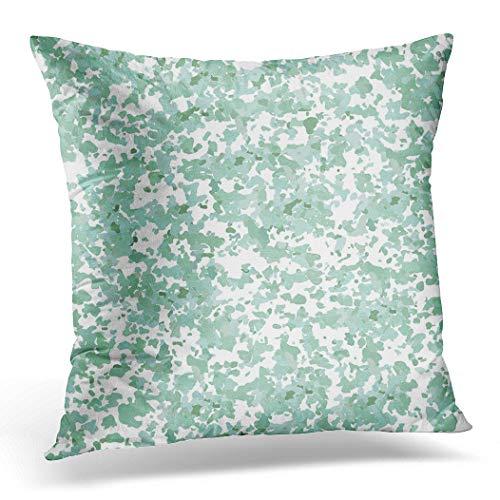 Awowee Funda de cojín de 40 x 40 cm, diseño abstracto de terrazzo azul, en colores verde aguamarina, decoración del hogar, funda de almohada cuadrada para sofá cama