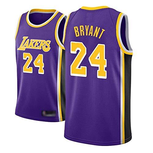 WEIZI Camiseta de Baloncesto para Hombre, NBA, Los Angeles Lakers #24 Kobe Bryant. Bordado Swingman Transpirable y Resistente al Desgaste Camiseta para Fan,B,M