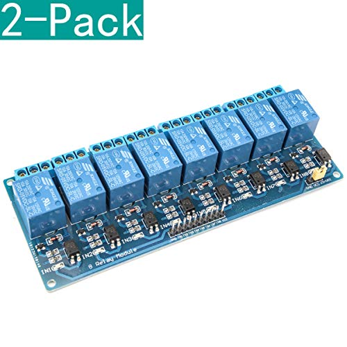 YOUMILE 2 Pack 8 Channel DC 5V Relay Module with Optocoupler for Arduino UNO R3 MEGA 2560 1280 DSP ARM PIC AVR STM32 Raspberry Pi