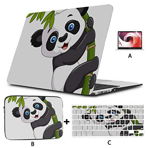 Macbook Air A1466 Case Chinese Panda Eating Bamboo Laptop Case Hard Shell Mac Air 11'/13' Pro 13'/15'/16' With Notebook Sleeve Bag For Macbook 2008-2020 Version