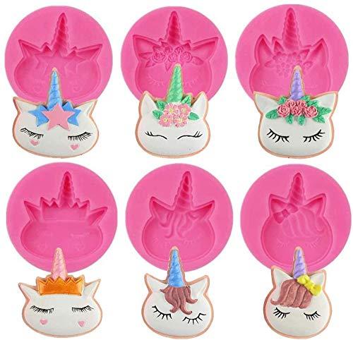 Molde de Silicona de Unicornio, BESTZY Molde de Chocolate Para Pasteles, Adecuado Para Cumpleaños y Fiestas Temáticas de Unicornio, Herramientas Manuales de Bricolaje (6 Piezas)