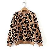 Suéter de Punto de Leopardo para Mujer Invierno Animal Print Grueso de Manga Larga Jerseys Femeninos Tops Casuales