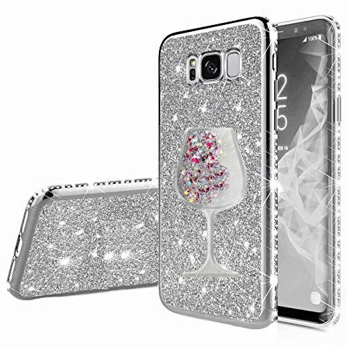 Nadoli Galaxy S8 Glitzer Hülle,Kristall Diamant Strass Bumper mit 3D Fließend Flüssig Treibsand Weinglas Silikon Handyhülle Frauen für Samsung Galaxy S8