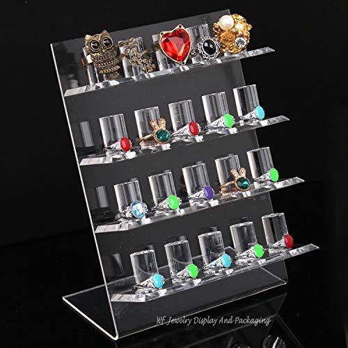 2020 YXWEI Acrílico 4 Capas del Anillo Soporte de exhibición del 20-Rings Anillo titulares Organizador de la joyería de visualización estantes Anillo Soporte (Color : Clear)
