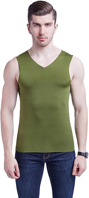 Summer Men's V-Neck Solid color Sleeveless Vest Soft T-Shirt