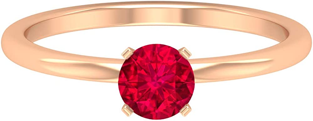 5 MM Solitaire Ruby Ring, Simple Engagement Ring, Solid Gold Wedding Ring, 14K Gold