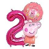 Peppa Wutz Girls Set Folienballon + Riesenzahl 1-8 Zahl 2 Kindergeburtstag Geburtstag Peppa Pepa Pig Schwein Charakter Folien Ballon Kinderparty Ballone Kinder Party (Zahl 2)