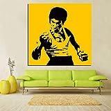Pintura al óleo de Bruce Lee famosa del arte pop de la impresión en HD sobre lienzo arte Kungfu Star cuadro de pared Cuadros sofá moderno para decoración de sala de estar 30x30 CM (sin marco)