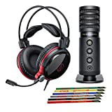 Audio-Technica ATH-AG1X Closed Back Gaming Headset Bundle with Beyerdynamic Fox USB Condenser Microphone and Velcro Cable Ties