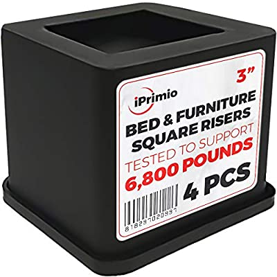 iPrimio Bed and Furniture Square Risers - 3 INCH Rise Size - Wont Crack & Scratch Floors - Heavy Duty Rubber Bottom - Patent Pending - Great for Wood and Carpet Surface (Black, 4) from iPrimio
