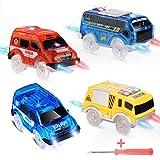 4 piezas Track Cars Toy Cars Glow in The Dark Compatible con la mayoría de las pistas Light Up Reemplazo de juguetes para automóviles, la mayoría de las pistas de carreras para niños Niños Niñas