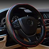 yunanwa Universal 15 Inch Car Steering Wheel Cover Protector Genuine Leather Heavy Duty Durable Sporty Wave Pattern (Black+Red)