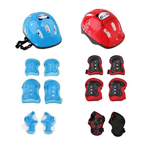 Fltaheroo 2 juegos de patinaje sobre ruedas para niños, casco de bicicleta, rodillera, muñeca, codera, almohadilla (rojo + azul)