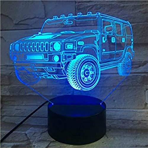 CHSYWH Coche 3D novedoso cambiante Multicolor, luz de autobús con Control Remoto táctil, luz de Noche USB, Regalo de niño, decoración de Escritorio de Dormitorio, luz de Noche LED