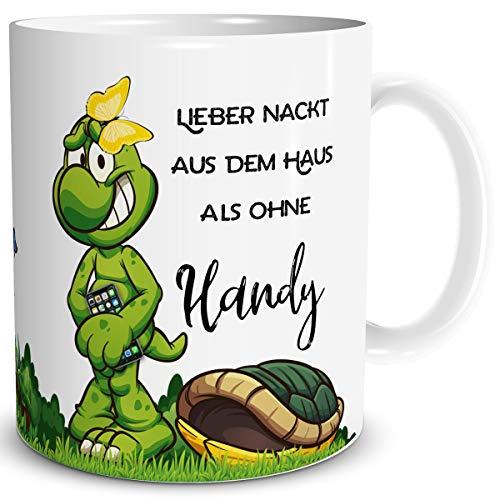 TRIOSK Tasse Schildkröte mit Spruch lustig Telefon Turtle Lieber Nackt Spruchtassen Coffee Geschenk für Arbeit Büro Frauen Freundin Kollegin