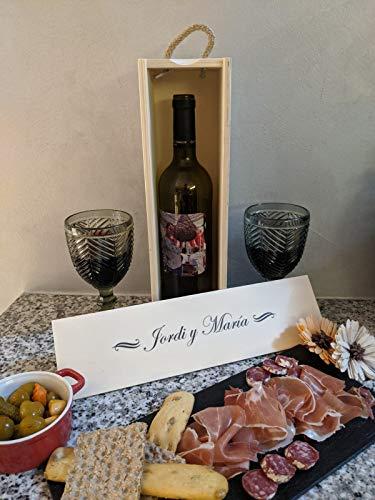 Estuche y botella de vino personalizada, ideal para regalo personalizado el día del padre, día de la madre, aniversario, botella con foto y estuche personalizado, regalo cumpleaños
