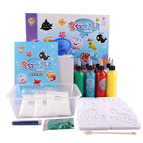 Aibecy Water Elves Sea Baby Set, DIY Handmade Painting Set, 6/8 Colors Toys Pretend Play Kit with Storage Box for Age 3+ Boys & Girls