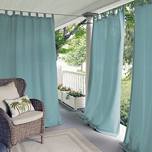 """Elrene Home Fashions Indoor/Outdoor Solid Tab Top Single Panel Window Curtain Drape, 52"""" x 95"""", Mineral"""
