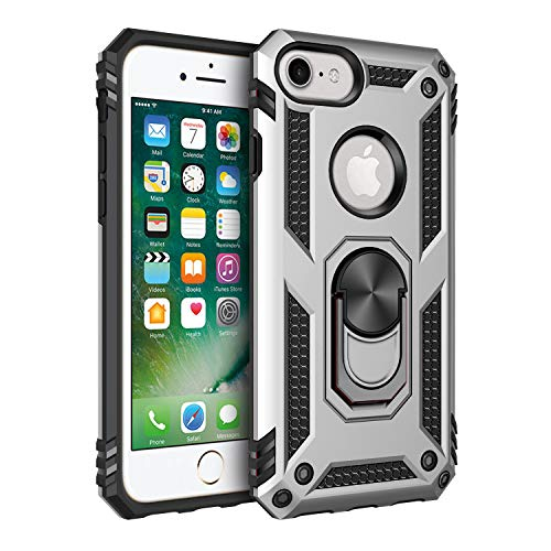 Military Grade Drop Impact for iPhone 8 Case iPhone 7/6 Case 360 Metal Rotating Ring Kickstand Holder Built-in Magnetic Car Mount Shockproof Cover for iPhone 8 7 6 Phone Protection Case (Sliver)