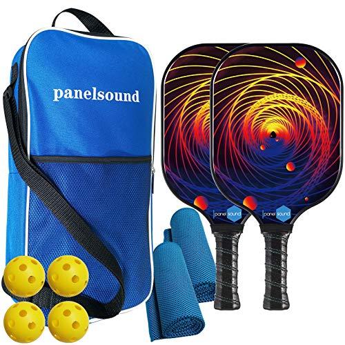 Panel Sound Pending USAPA Approved Pickleball Paddles Fiberglass Pickleball Paddle Set of 2, Lightweight Pickleball Rackets, 4 Pickleball Balls, 1 Carry Bag & 2 Cooling Towels