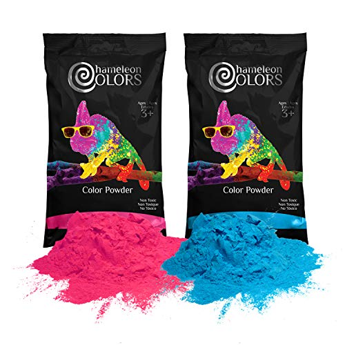 Gender Reveal Powder by Chameleon Colors, 1 Pound Blue Powder and 1 Pound Pink Powder, Baby Reveal Powder, Color Powder for Baby Gender Reveal