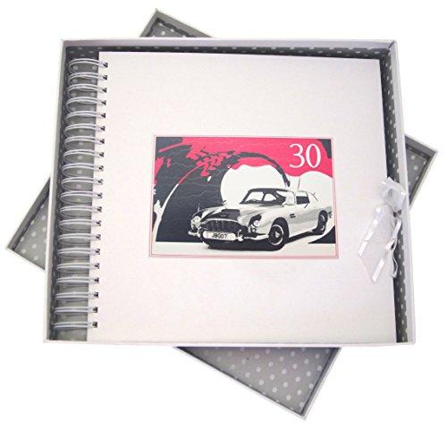 White Cotton Cards Carte Anniversaire 30 Ans, & mémoire Livre, Voiture Classique, Blanc