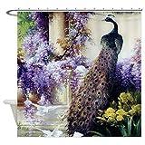 ajhgfjgdhkmdg CafePress Bidau Peacock Wisteria Pigeon Antibakterielle wasserdichte Badezimmervorhangdekoration
