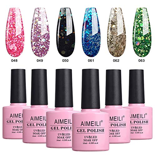 AIMEILI Soak Off UV LED Glitter Color Gel Nail Polish Multicolor/Mix Color/Combo Color Set Of 6pcs X 10ml- Kit Set B