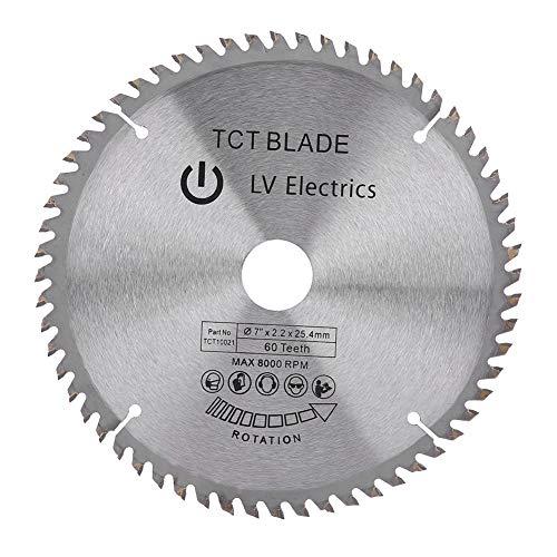 Disco da taglio per sega circolare in metallo duro, 180 mm, 60 denti, per acciaio, alluminio, legno, plastica