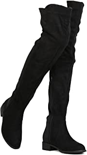 Women Thigh High Flat Boots Pull on Low Block Heel Over The Knee Boots by (TM)