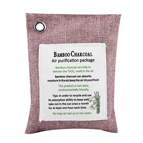 Bolsa desodorizante para coche, capa a prueba de fugas, bolsa purificadora de aire de 8 colores, purificador de olor de bambú de carbón activado, desodorante para coche(Melocotón)