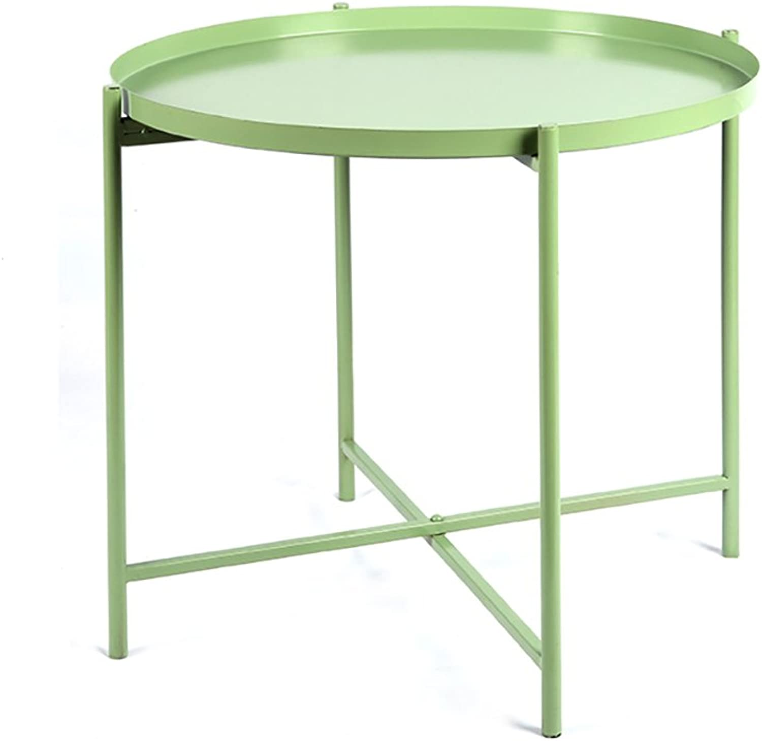 CSQ Wrought Iron Folding Small Coffee Table Sofa Corner Stylish Bedside Small Round Table Bedroom Green Yellow White golden  36-46.5cm Tea Table (color   Green, Size   B)