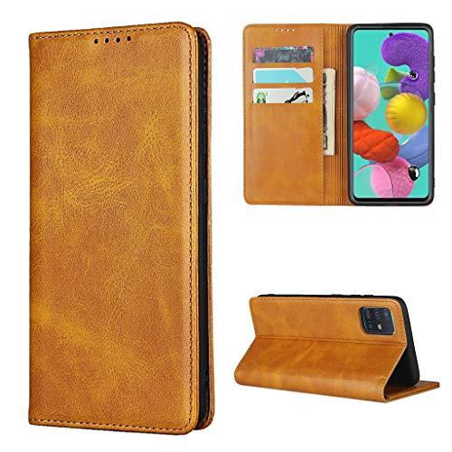 Copmob Hülle Samsung Galaxy A51,Flip Leder Brieftasche klapphülle Handyhülle,[3 Kartensteckplatz][Ständerfunktion][Magnetverschluss],Ledertasche Schutzhülle für Samsung Galaxy A51 - Hellbraun