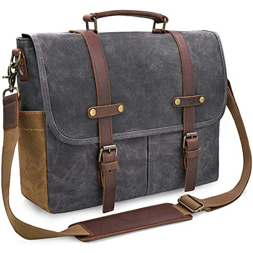 Newhey Mens Laptop Shoulder Canvas Messenger Bag Waterproof Computer Briefcase Notebook Vintage Satchel Designer School Work Bags Grey 15.6 Leather