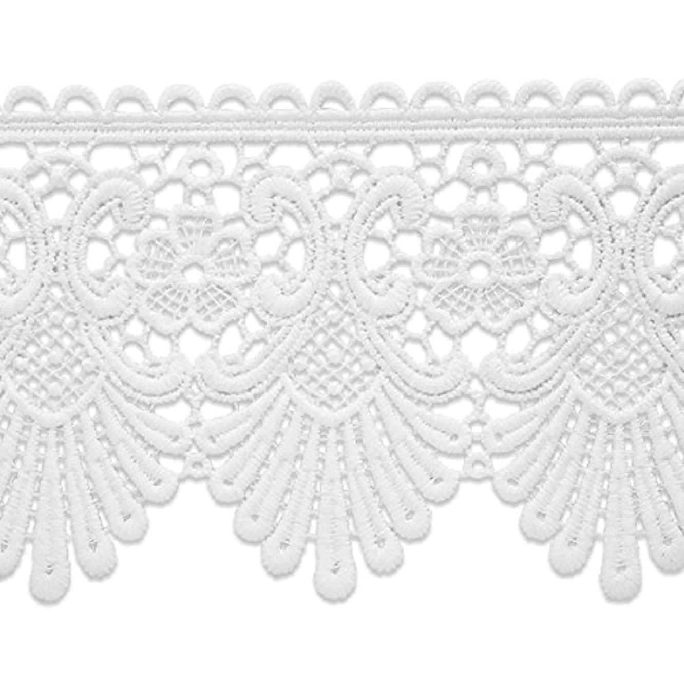 Expo IR8069WH-10 10 Yards of Swirl & Flower Lace Trim White