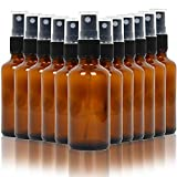 Youngever 12 Pack Empty Amber Glass Spray Bottles, 2 Ounce Empty Refillable Containers