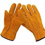 BMGAINT 牛革手袋 作業用手袋 保護グローブ 電気溶接用の手袋 アーク溶接 耐熱 難燃 耐摩耗 ガーデニング バーベキュー パン屋 ベーカリー (12組)