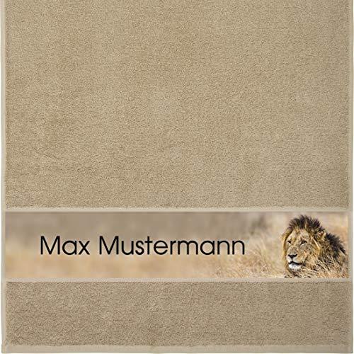 Manutextur Handtuch mit Namen - personalisiert - Motiv Tiere - Löwe - viele Farben & Motive - Dusch-Handtuch - beige - Größe 50x100 cm - persönliches Geschenk mit Wunsch-Motiv und Wunsch-Name