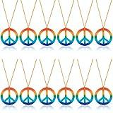 Comius Sharp 12 Pezzi Collane di Pace Arcobaleno Plastica Pendente del Segno di Pace Accessorio del Costume della Collana 60's 70's Hippie Costume Dressing Accessori per Adulti Favore di Partito