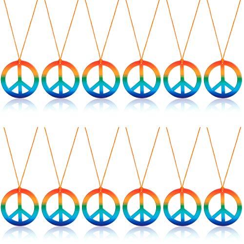 Comius Sharp 12 Stücke Regenbogen Frieden Halsketten, Peace Zeichen aus Metall mit Stoffband Kette, Partybedarf in den 60er und 70er Jahren Bunte Hippie-Halskette