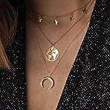 Jovono Boho Collar de varias capas con colgante de mapa de luna y estrella, cadena de joyería para mujeres y niñas (oro)