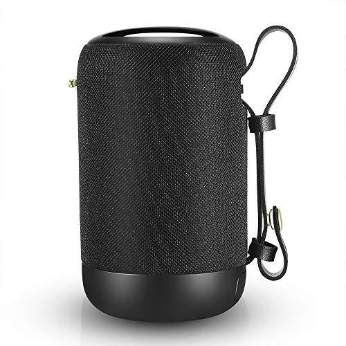 Altavoz Bluetooth Portatiles, Bluetooth 5.0 y 20W Doble Driver, 12h Reproducción Micrófono Incorporado Bass Potente, 360 Grados de Sonido Envolvente con FM, MP3, AUX, USB, TF Modos, Exquisito Negro