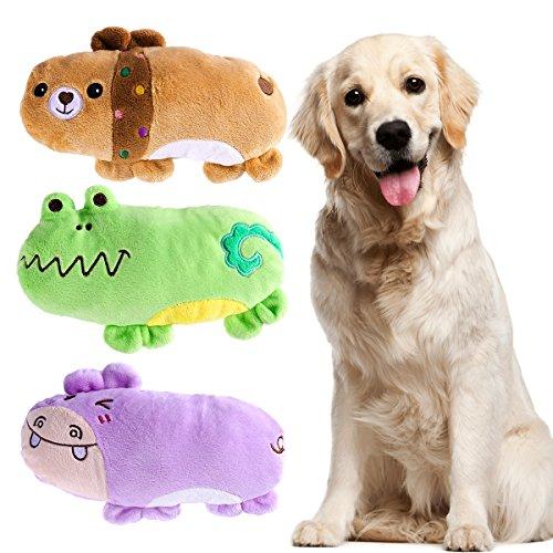 UEETEK Confezione da 3 Masticare Squeaky Giocattolo per Cani Cuccioli,Modello Orso Ippopotamo e di Rana Giocattoli di Cane da Peluche Regalo di Capodanno per Animali Domestici