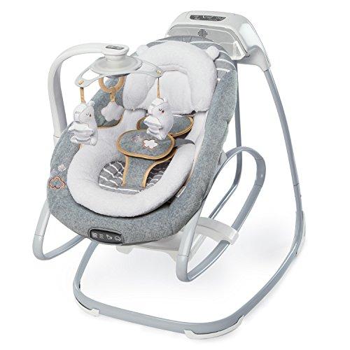 Ingenuity, 2 in 1 Babyschaukel und -wippe Bella Teddy mit 4 beruhigenden Vibrationen, Melodien, 2 Rückenlehnpositionen, elektronischem Mobile, Smartphone-Funktion und Rädern zum einfachen Transport