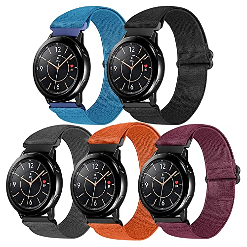 Vodtian 20mm Watch Bands Elastic Nylon Loop Compatible with Galaxy Watch 3 41mm/Samsung Galaxy Watch 42mm/Active2 44mm 40mm/Gear Sport, Adjustable Stretchy Quick Release Replacement Sport Straps