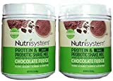 Nutrisystem Chocolate Fudge Shake Mix - Protein & Probiotics - Support Digestive Health & Help Bust Belly Bloat - 2 Containers - 16.3 oz. each - 28 Servings